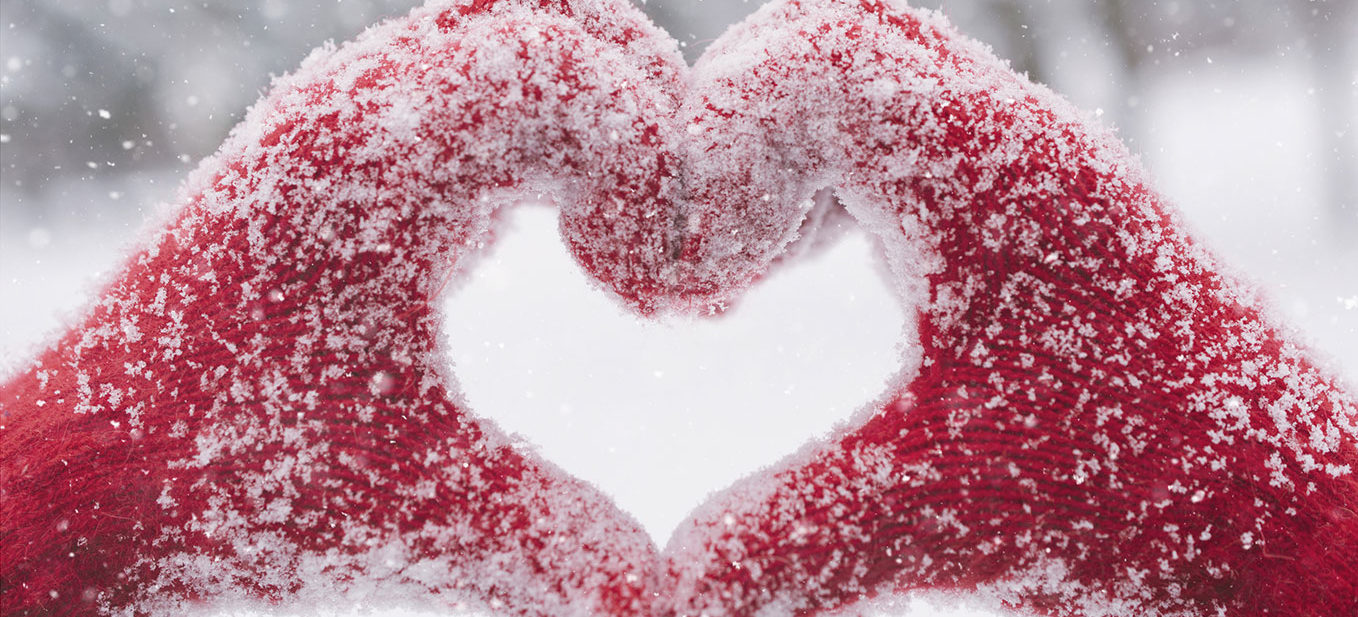Heart Mittens in Snow